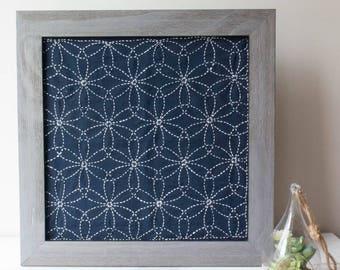 Sashiko Kit | Olympus Sashiko Embroidery Pattern, Traditional Japanese Design - Hanazashi on Navy Fabric (No 212)