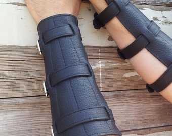 Steampunk Black Leather Bracers or Gauntlets with Nickel Hardware