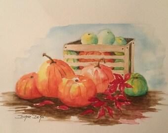 Fall Harvest Original Watercolor Painting