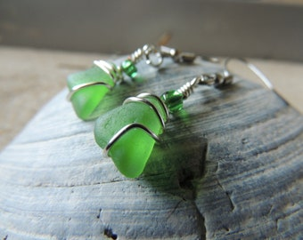 Handmade Natural Authentic Surf Tumbled Bright Green Sea Glass Earrings Wrapped Sliver