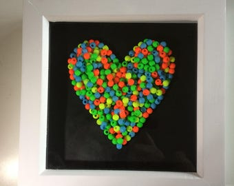 3D Heart Picture made up of day glo beads in white Frame