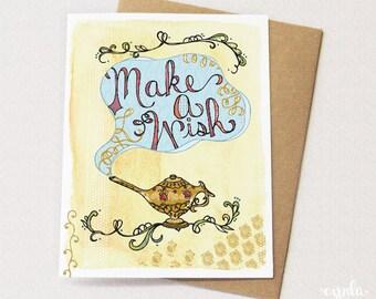 Make a Wish LAMP Card - Blank card, Birthday Card, Magic Lamp