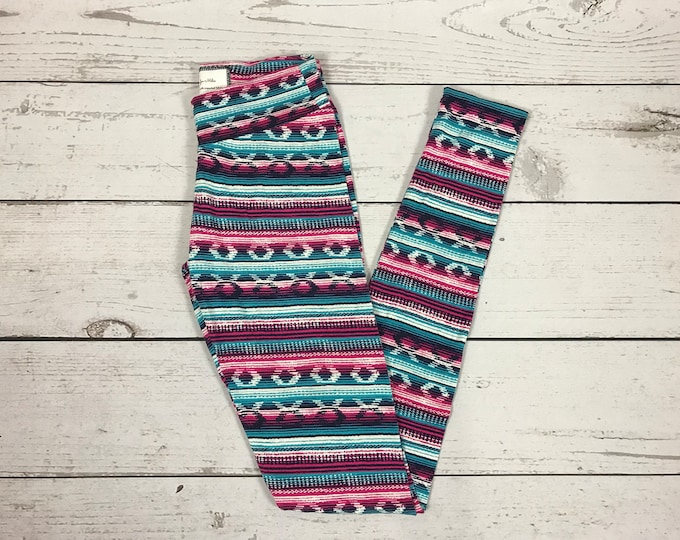 Aztec Print Tights in Fuchsia and Navy