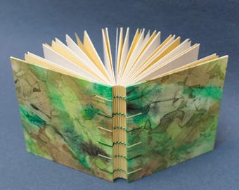 Handmade Coptic Journal or Sketchbook - Green and Yellow