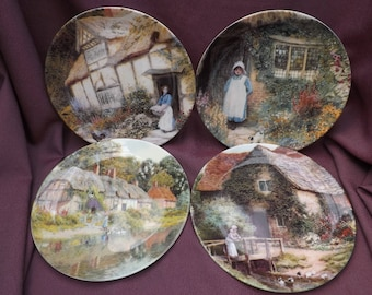 """WEDGWOOD Collectors Plates. Limited Edition """"English Country Cottges of Arthur Claude Strachan"""". Set of 4 Bone China Plates. Gardener's Gift"""
