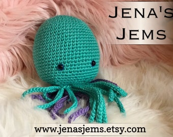 Octopus Crochet Toy wth rattle or squeek options-Cotton baby shower gift