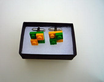 Cufflinks, chequered with Lego® bricks. Available in a wide variety of colours: You choose!