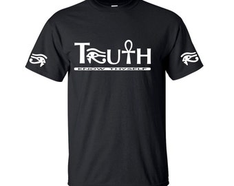 Ankh Shirt  Ankh T Shirt  Truth Tshirt  Eye of Ra Horus Heru Shirt  African Shirt  Mens African Shirt  Egyptian Shirt  Kemet Tshirt TRUTH