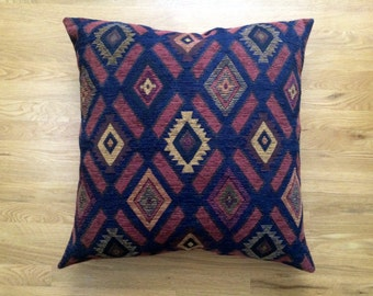 Navy Blue Floor Pillow Cover, 26x26 Salmon Rust Terracotta Decorative Pillow Cover, Large Cozy Throw Pillow