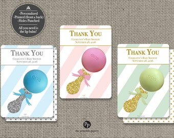Printed Baby Shower Sprinkle Party Favors for EOS lip balm | Thank You Tags |Stripe Glitter eos tags | 12 Favor Tags| No. P-STP-EOS