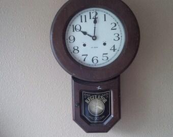 Regulator Clock Wall Hanging Clock Vintage Regulator Rustic Home Decor Wood Clock