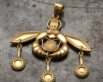 Gold Greek Necklace, Bees Pendant Ancient Minoan Cretan Necklace, Sterling 24k Gold Plated, Museum Replica, Wearable Art, Greek Jewelry