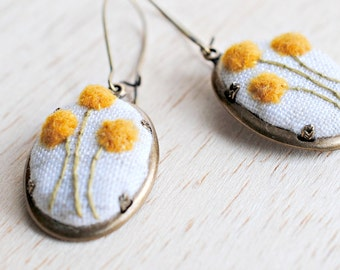 Billy Button (Craspedia) Earrings, gold yellow mustard embroidered on repurposed cream linen