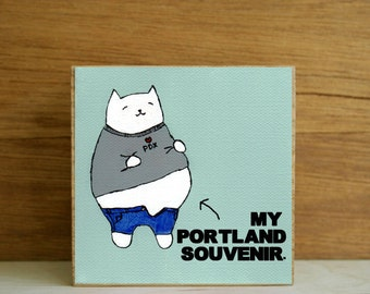 """ART BLOCK: """"Portland Foodie"""" featuring a Cat with a Big Belly from Overeating"""