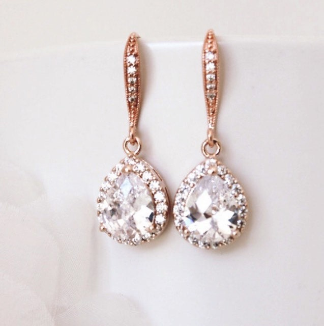 Rose Gold Bridal Earrings Rose Gold Wedding Jewelry Crystal Bridal