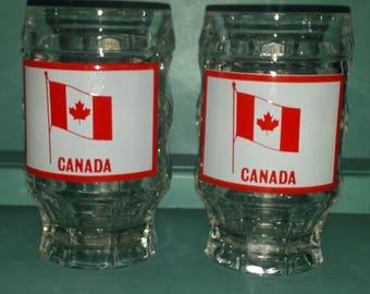 Glassware Set of 2 Vintage Dimpled Mugs