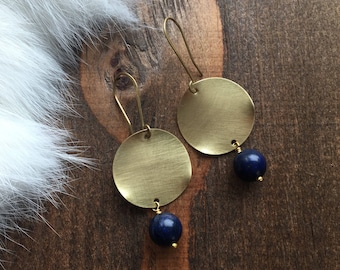 Brass Wavy Disc and Lapis Earrings