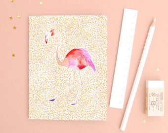 The Goddess - Recycled Paper Notebook - Dotted pages - stationery - zodiac gift - Virgo - flamingo illustration
