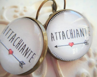 "Earrings glass cabochon 20 mm ""attachiante"" bronze, white, red, humor, optional gift box"