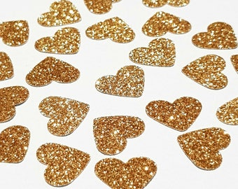 Gold Confetti Hearts Engagement Party Decorations, Gold Party Decorations, Baby Shower Decorations, Bridal Shower Decorations, Gold Confetti