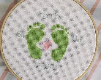 Personalized Baby Footprint Keepsake Hoop Art