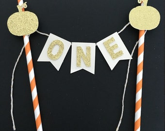 Pumpkin bunting cake topper .. Fall birthday .. Cake smash .. Birthday party