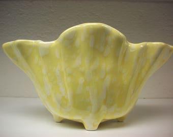 MID-CENTURY PLANTER Yellow Speckled Splatter Pastel Flower Pot Pottery