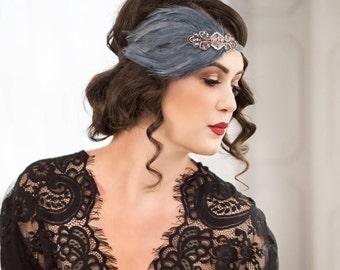 Great Gatsby headband, Rose Gold headband, Downton Abbey serre tete 1920s headpiece, black feather headband, roaring 20s headpiece,