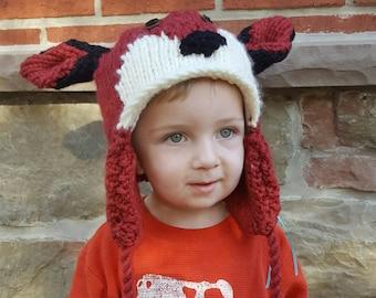 Handknit Red Fox hoed voor Kids - volledig bekleed Winter muts met oorkleppen & kwastjes - Made to Order door Keep'em in steken