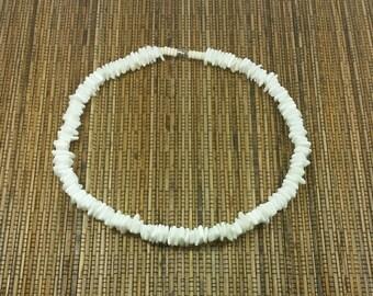 White Puka Shell Necklace - Seashell Necklace - White Necklace- White Puka Necklace - White Seashell Necklace Hawaiian Necklace Beach Tiki