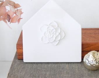 White plaster house. House wall decor. House with flower wall hanging. House shaped wall decor.  House warming gift. Plaster wall art