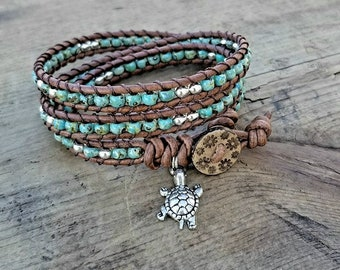 Seed Bead Leather Wrap Bracelet Beaded Leather Wrap Bracelet Womens Jewelry Bohemian Jewelry Boho Beach Turtle Charm