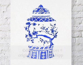 Chinois Ginger Jar in Ming Blue Print - Chinoiserie Wall Art - Blue and White Art Print - Vintage Ginger Jar Wall Art
