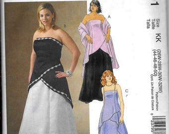 McCall's M4791 Plus Size Strapless EVENING 2-Pc DRESS Skirt, Top And Stole Sewing Pattern 4791 UNCUT Womans Size 26W, 28W, 30W, 32W