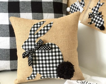 Bunny Pillow, Black and White Bunny Pillow, Easter Pillow, Easter Bunny Pillow, Black White Easter, Easter Decorations, Spring Pillow