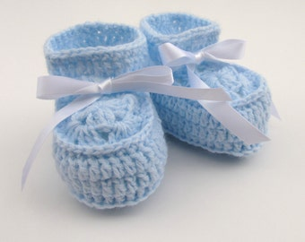 Booties in Light Blue, Baby Soft Shoes Boys, Baby Booties 0-3 Month