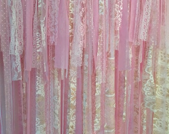 Pink gold Backdrop, fabric backdrop, lace backdrop, Wedding Backdrop, Baby shower backdrop, fabric garland, ballerina party, princess party