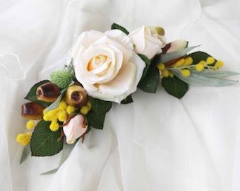 5 Mini Cream Roses Artificial Hair Flower Pins Made in UK kyIYuTa