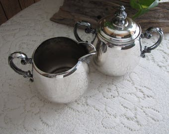 Wm. Rogers Silver Plated Cream and Sugar Bowl Antique and Elegant Dining and Serving  Eagle and the Star Makers Mark
