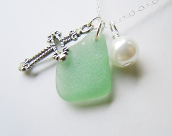 Green Sea Glass Cross Necklace Beach Glass Necklace Religious Necklace