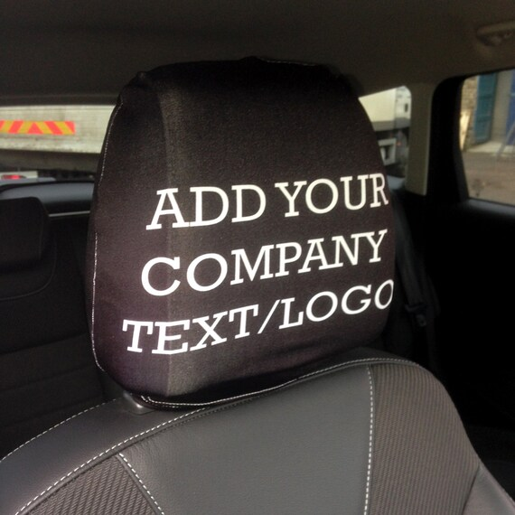 Personalised Text Logo Car Seat Headrest Cover 2 Pack Made In Yorkshire Great Advertising Tool