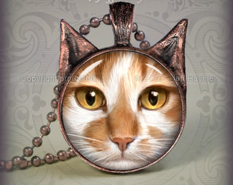 OW16 Orange and White Cat pendant