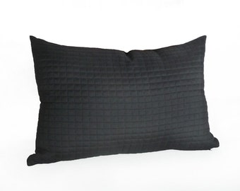 Black Accent Pillow, Black Lumbar Pillow, Black Cushion Cover, Black Pillow Case, Solid Black, Modern Decor, Zipper,  12x18, 12x20, 14x20,