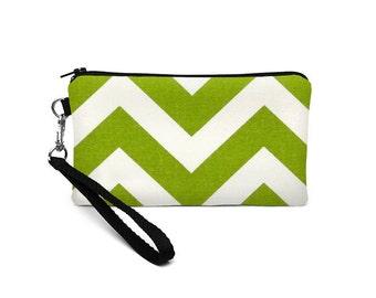 iPhone 8 Plus Wristlet, Blackberry Phone Pouch, Smartphone Clutch Bag, Padded Phone Purse, Fabric Wristlet Bag - lime green white chevron