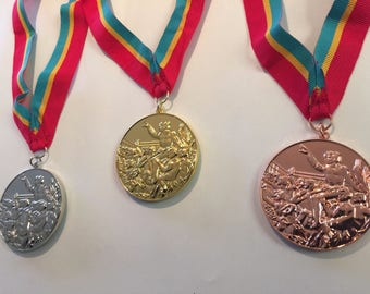 1984 Los Angeles Olympic Medals Set (Gold/Silver/Bronze) with Ribbons & Display Stands !!!