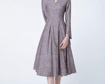 retro dress linen, spring dress women, party dress, evening dress, pleated dress, fitted dress, elegant dress, made to order 1715