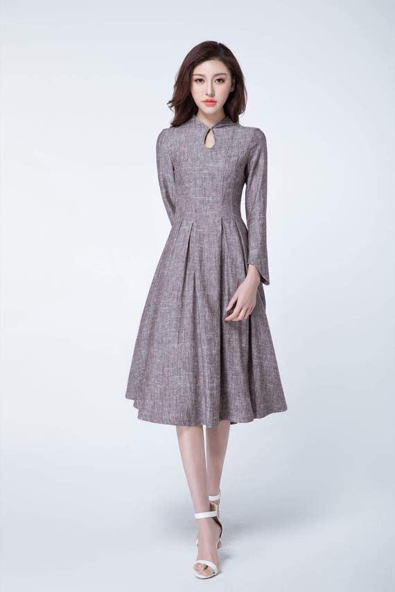 Retro Kleid Leinen Frühling Kleid Frauen Partei Kleid