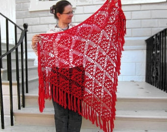 Big crimson red crocheted shawl MADE TO ORDER