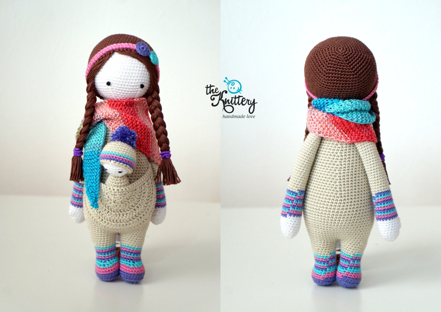 Lalylala Amigurumi Doll : Crochet doll with baby hair in braids head accessory and