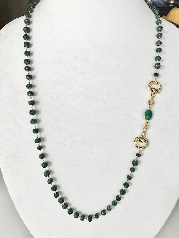 "Emerald Necklace, Emerald & Gold Snaffle Bit Connector,  Long Necklace, Double Wrapped Necklace, 24K Gold Plated,Toggle Clasp, 36"" Long"
